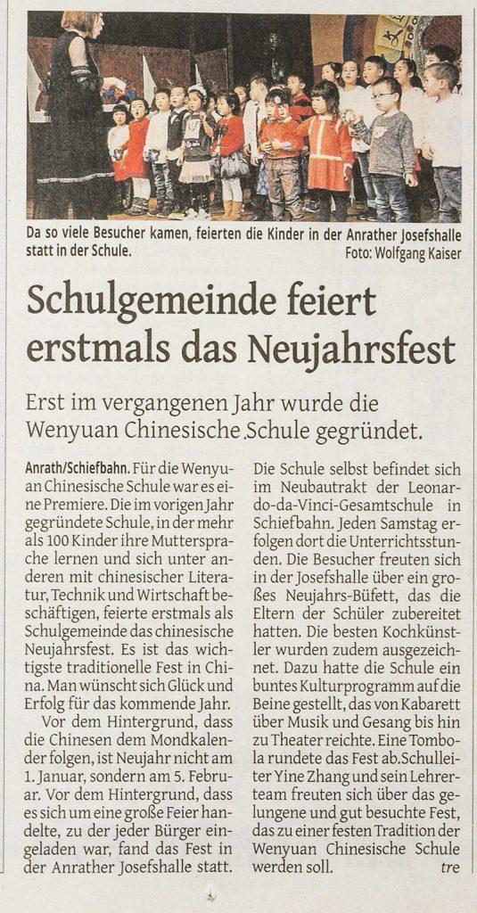 Artikel Westdeutsche Zeitung